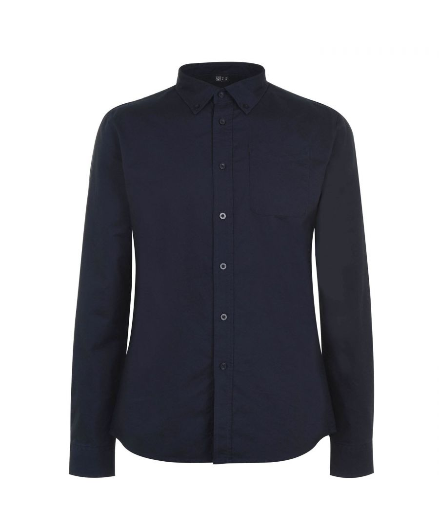 Image for Firetrap Mens Basic Oxford Shirt Long Sleeve Button Fastening Collar Top