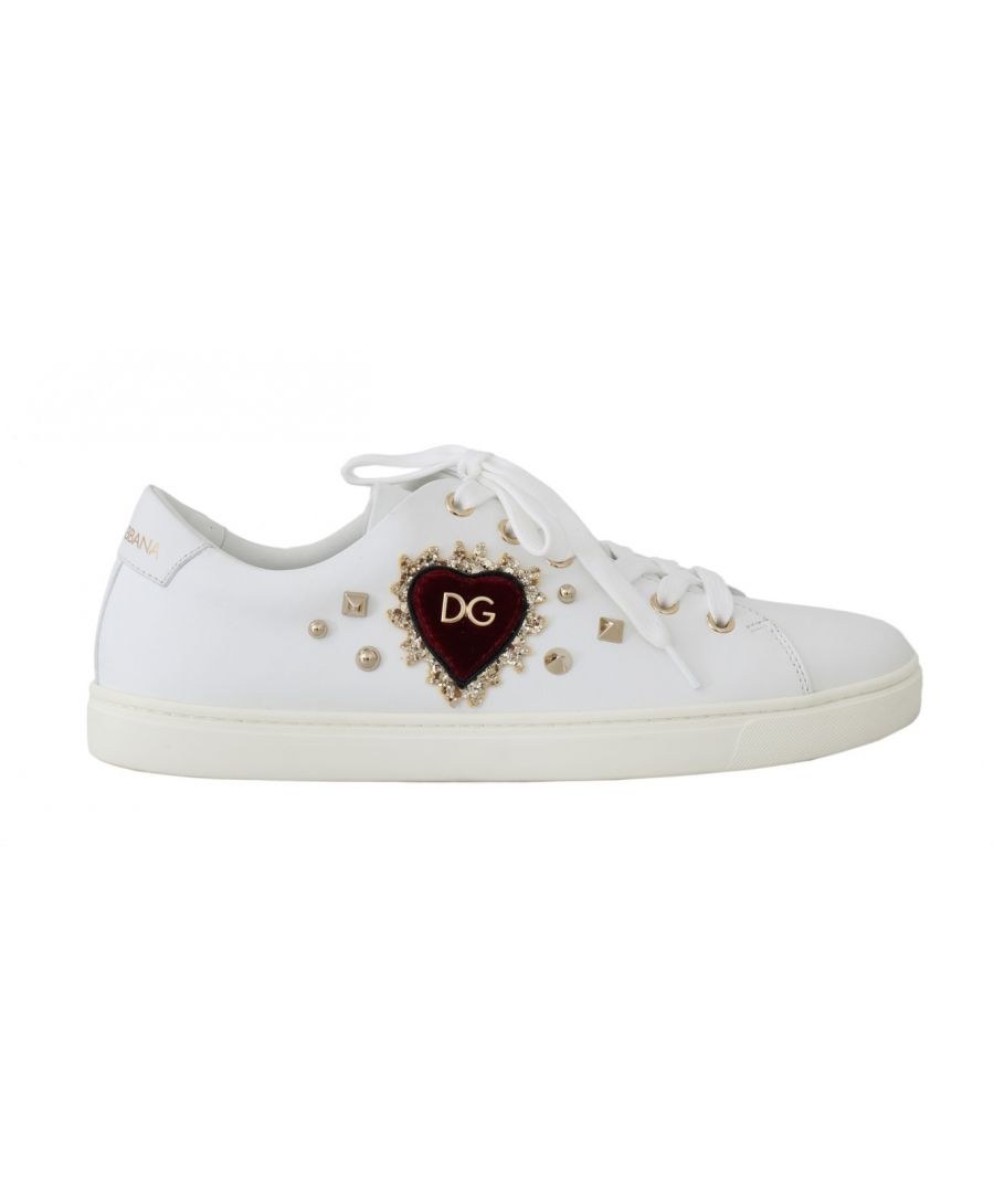 Image for Dolce & Gabbana White Leather Gold Red Heart Sneakers
