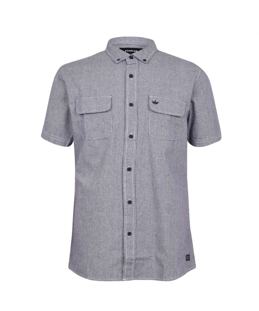 Image for Firetrap Mens Dogtooth Shirt Short Sleeves Folded Collar Soft Fabric Casual Top