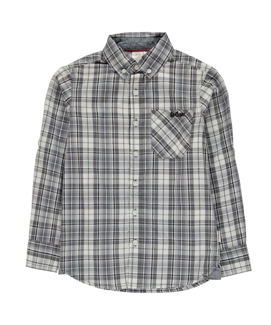 Image for Lee Cooper Kids Long Sleeve Checked Shirt Junior Boys Chest Pocket Top