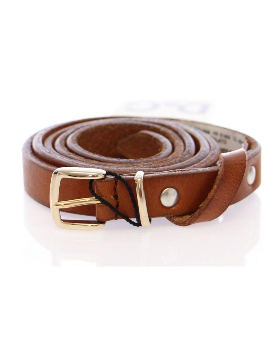 Image for Dolce & Gabbana Brown Leather Logo Belt