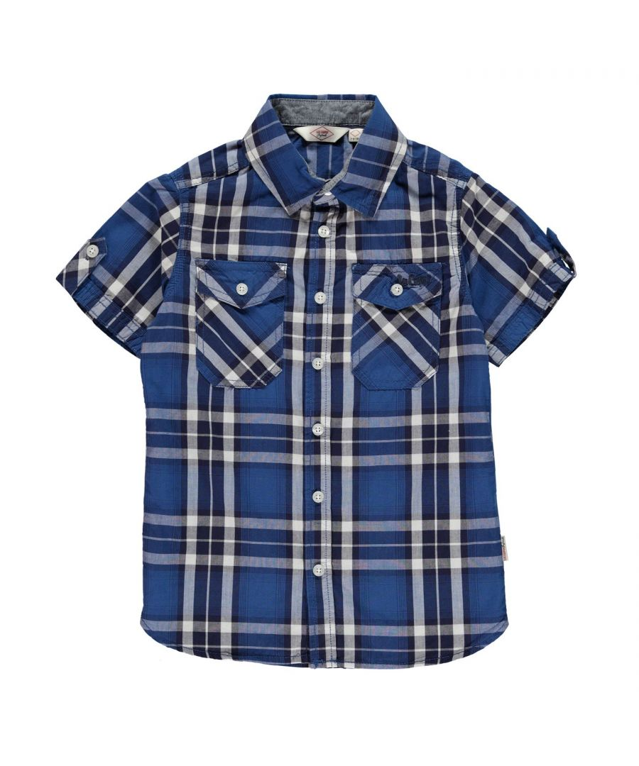 Image for Lee Cooper Kids Short Sleeve Check Shirt Junior Casual Cotton Print Chest Pocket