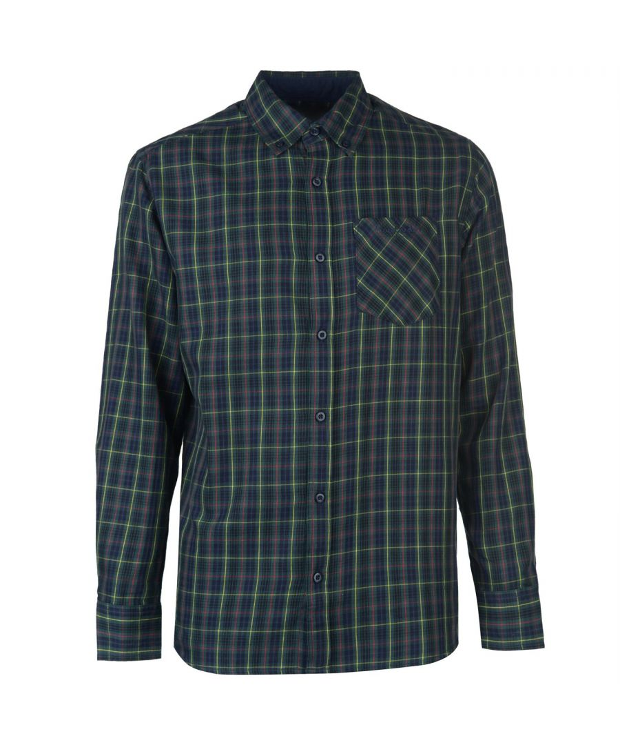 Image for Pierre Cardin Mens Tartan Check Long Sleeve Shirt Casual Top Button Regular