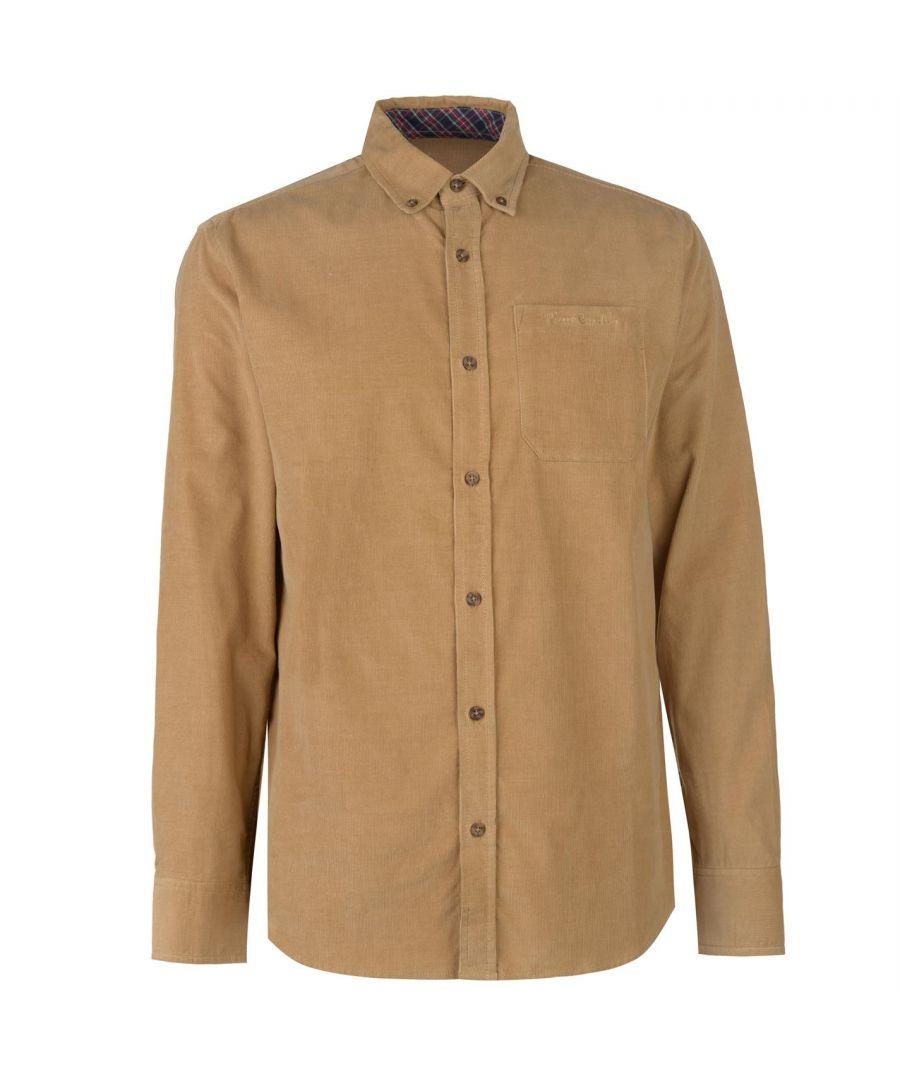 Image for Pierre Cardin Mens Corduroy Shirt Casual Top Button Regular Cotton Long Sleeve