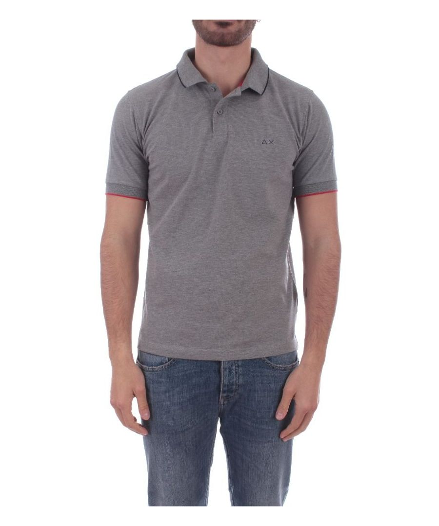 Image for SUN 68 MEN'S A3010634 GREY COTTON POLO SHIRT