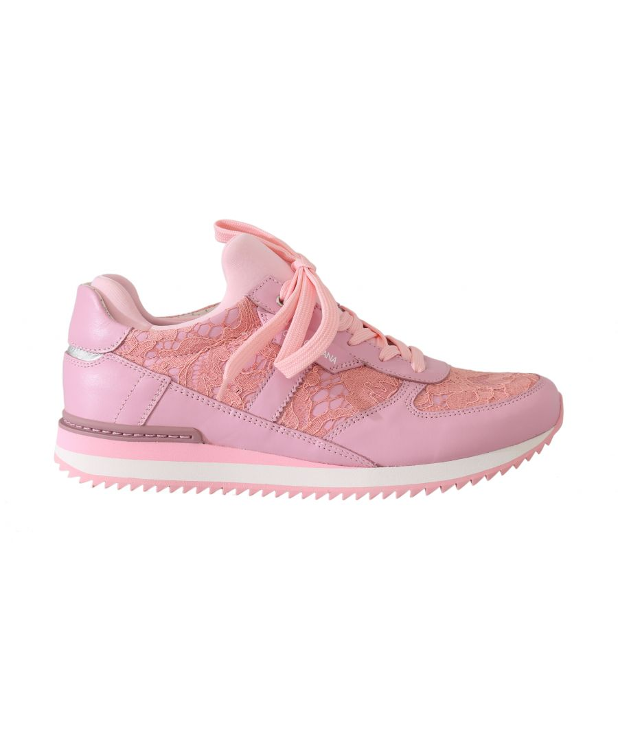 Image for Dolce & Gabbana Pink Floral Lace Leather Sneakers