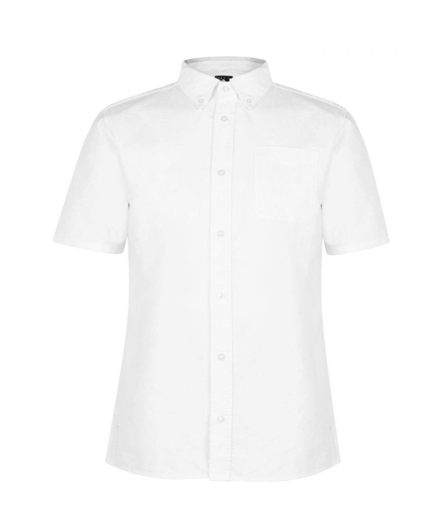 Image for Firetrap Mens Short Sleeve Oxford Shirt Casual Soft Construction Lightweight Top