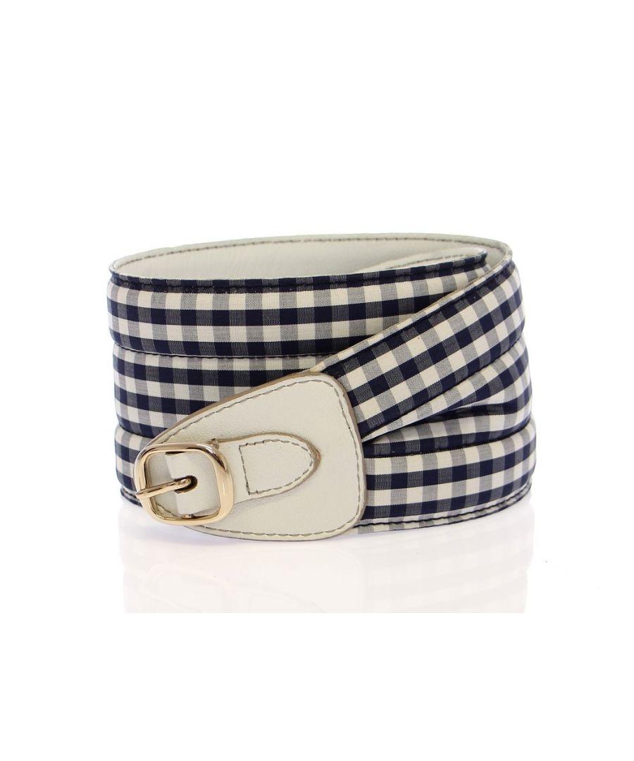 Image for Dolce & Gabbana Blue Cotton Leather Logo Waist Belt