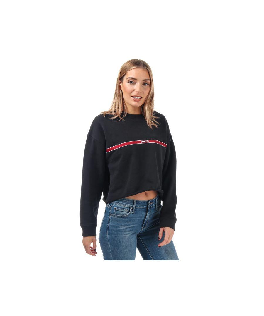 Image for Women's Levis Chest Tape Raw Cut Crew Sweatshirt in Black