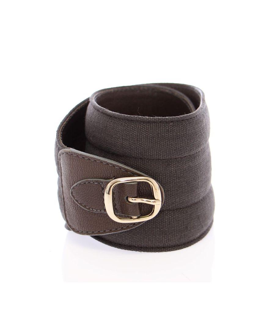 Image for Dolce & Gabbana Brown Leather Linnen Logo Belt