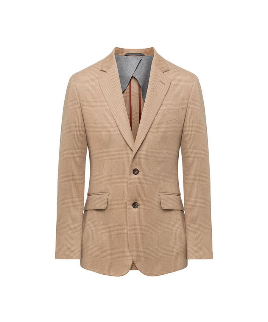 Image for Men's Hackett, Brushed Cotton Beige Check Jacket in Beige