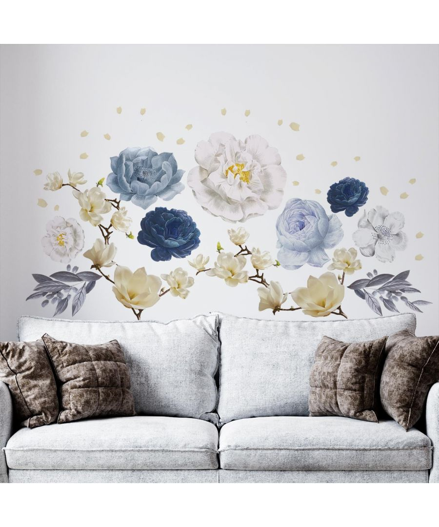 Image for White Magnolia With Blue Watercolour Flowersself Adhesive DIY Wall Sticker, Living room wall sticker