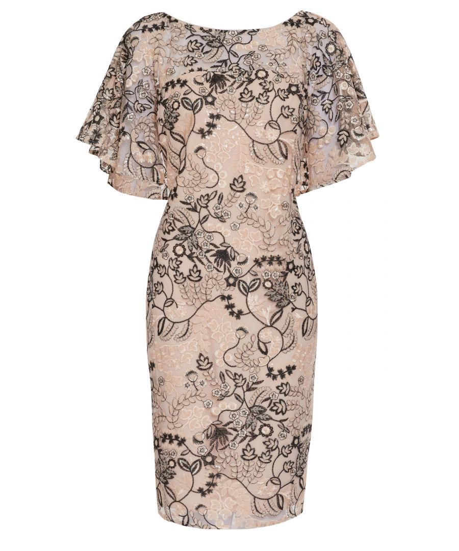 Image for Gina Bacconi Lyska Embroidered Dress in Pink