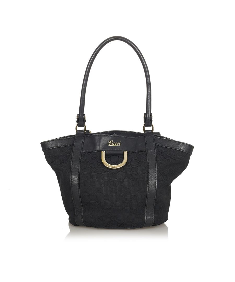 Image for Vintage Gucci GG Abbey D-Ring Canvas Tote Bag Black