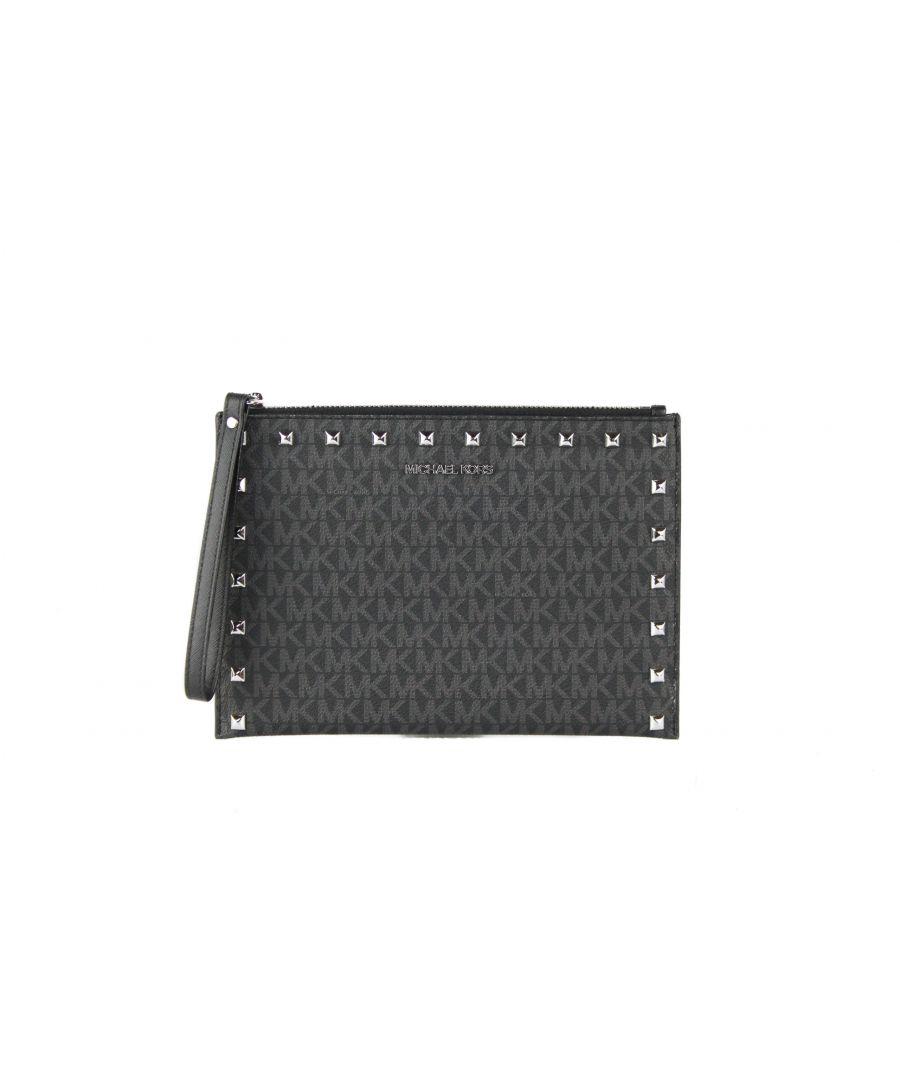 Image for Michael Kors Jet Set Travel Extra Large Signature PVC Leather Zip Clutch Wristlet Handbag (Black Signature)