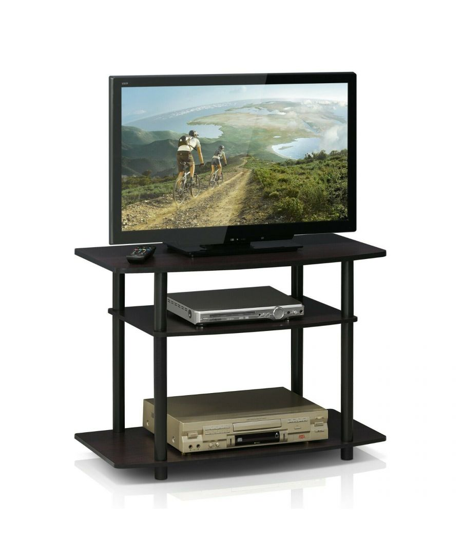 Image for Furinno Turn-N-Tube No Tools 3-Tier TV Stands - Dark Walnut