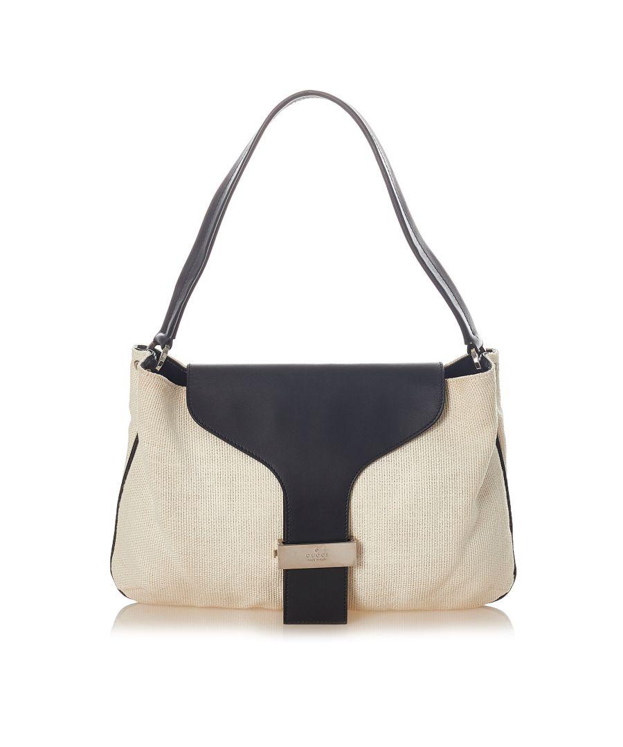 Image for Vintage Gucci Cotton Shoulder Bag White