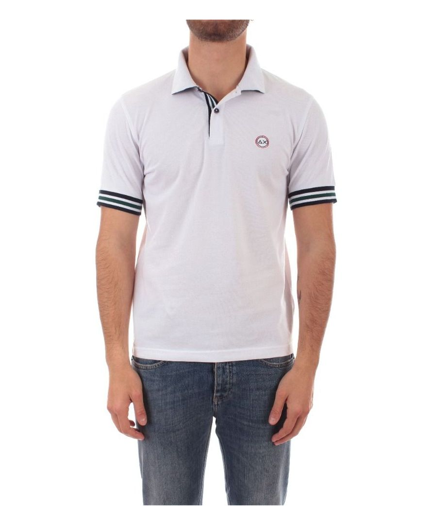 Image for SUN 68 MEN'S A3011001 WHITE COTTON POLO SHIRT