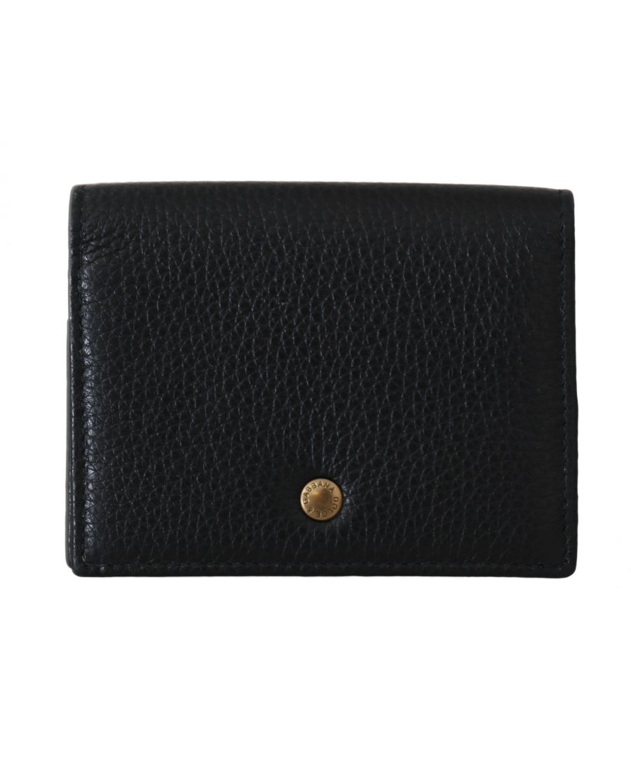 Image for Dolce & Gabbana Black Leather ID Card Coin Holder Case Cover