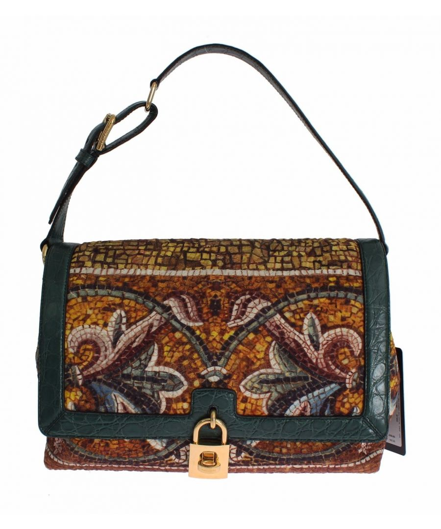 Image for Dolce & Gabbana MISS BONITA Mosaic Brocade Crocodile Hand Shoulder Bag