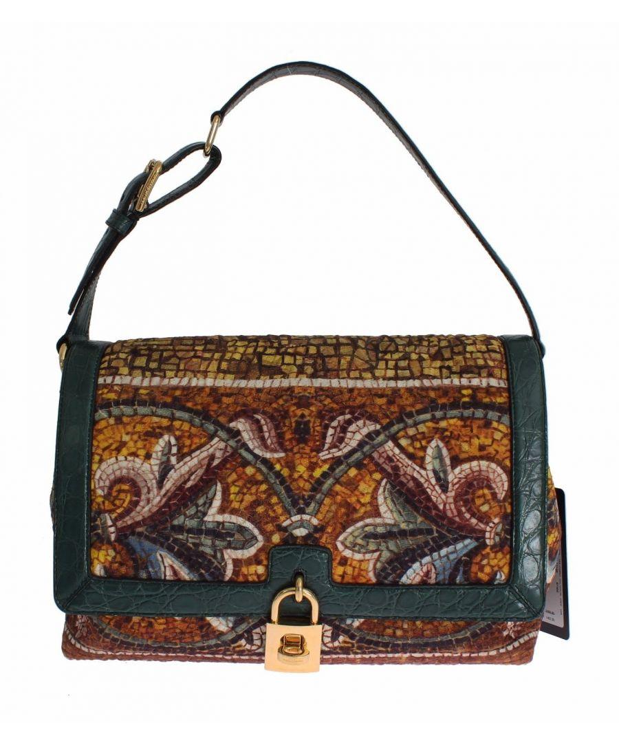Image for Dolce & Gabbana MISS BONITA Mosaic Brocade Crocodile Hand Shoulder Bag