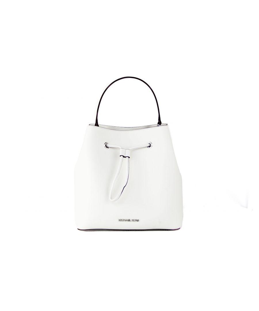 Image for Michael Kors Suri Large Leather Bucket Messenger Crossbody Drawstring Hobo Handbag (Optic White/Silver)