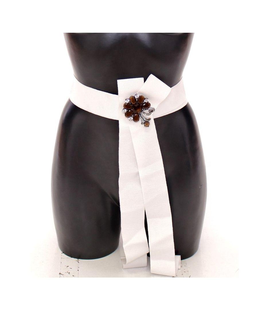 Image for Dolce & Gabbana White Crystal Brass Wide Waist Runway Belt