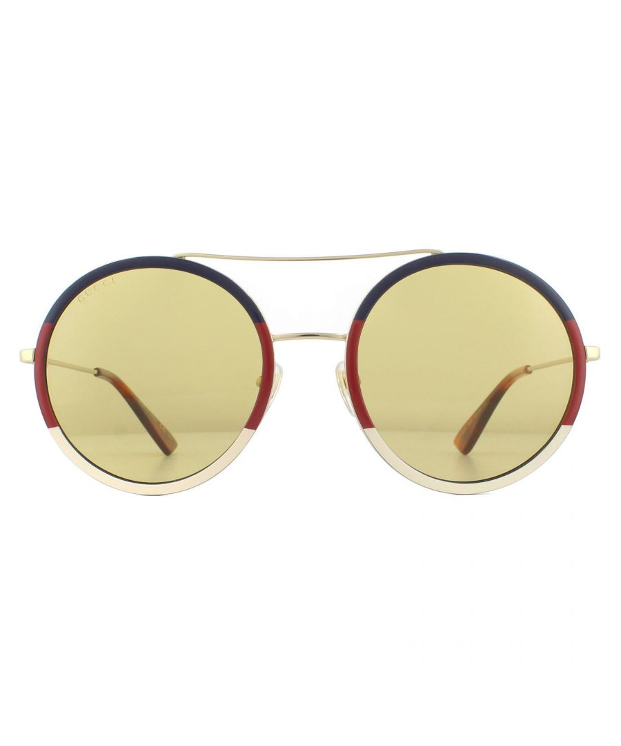 Image for Gucci Sunglasses GG0061S 015 Blue Red Beige And Gold Yellow With Light Mirror