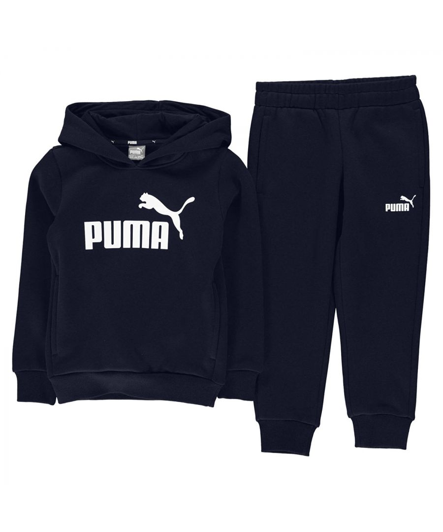 Image for Puma Essential Logo Kids Hoodie Tracksuit Navy Blue - 3-4 Years