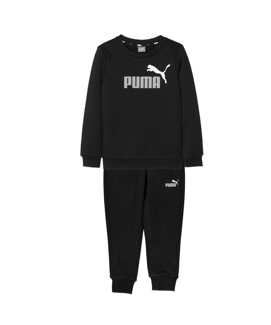 Image for Puma Essential Logo Kids Sweatshirt Tracksuit Black - 5-6 Years