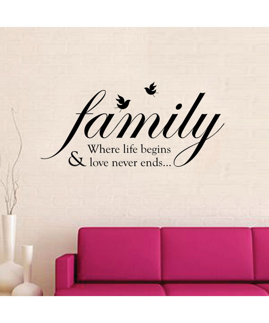 Image for Family Birds Quote Wall Stickers, Self Adhesive, DIY, Decoration, Kids Room, Nursery, Children's room, Boy, Girl
