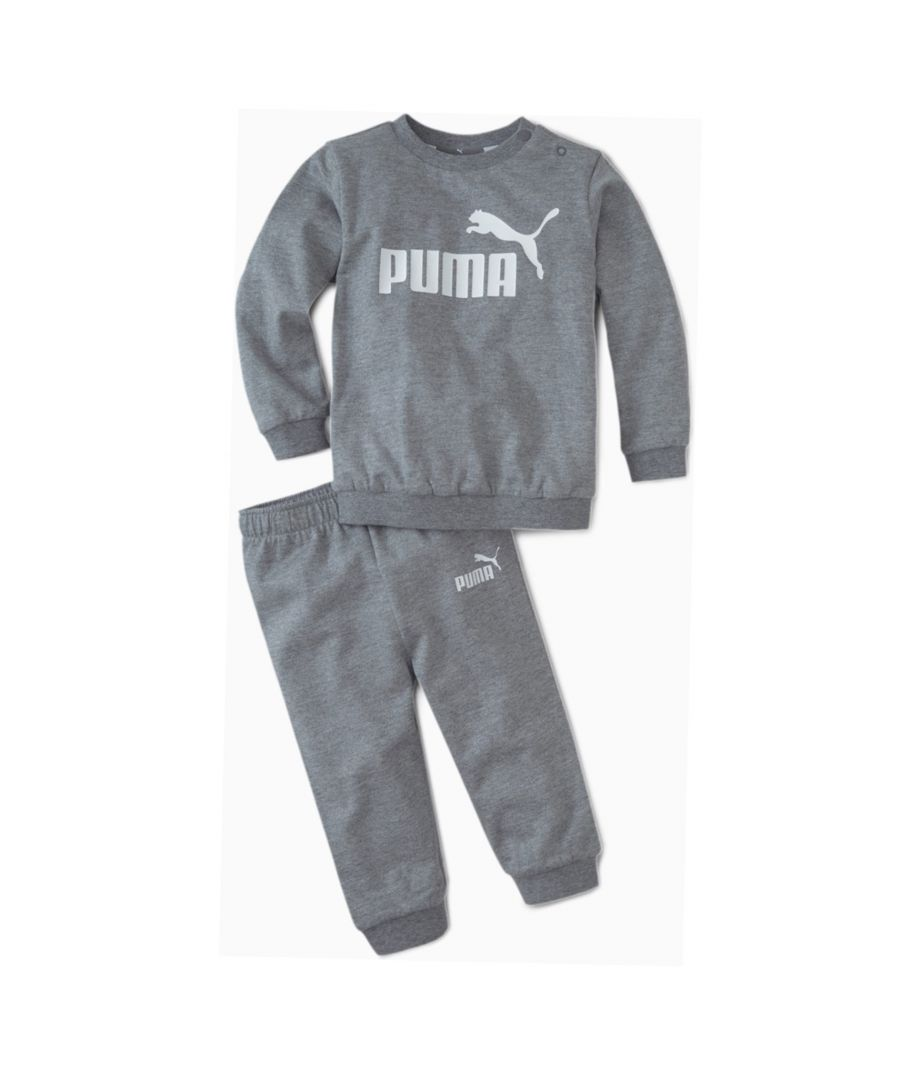 Image for Puma Minicats Crew Jogger Infant Tracksuit Grey - 9-12 Months