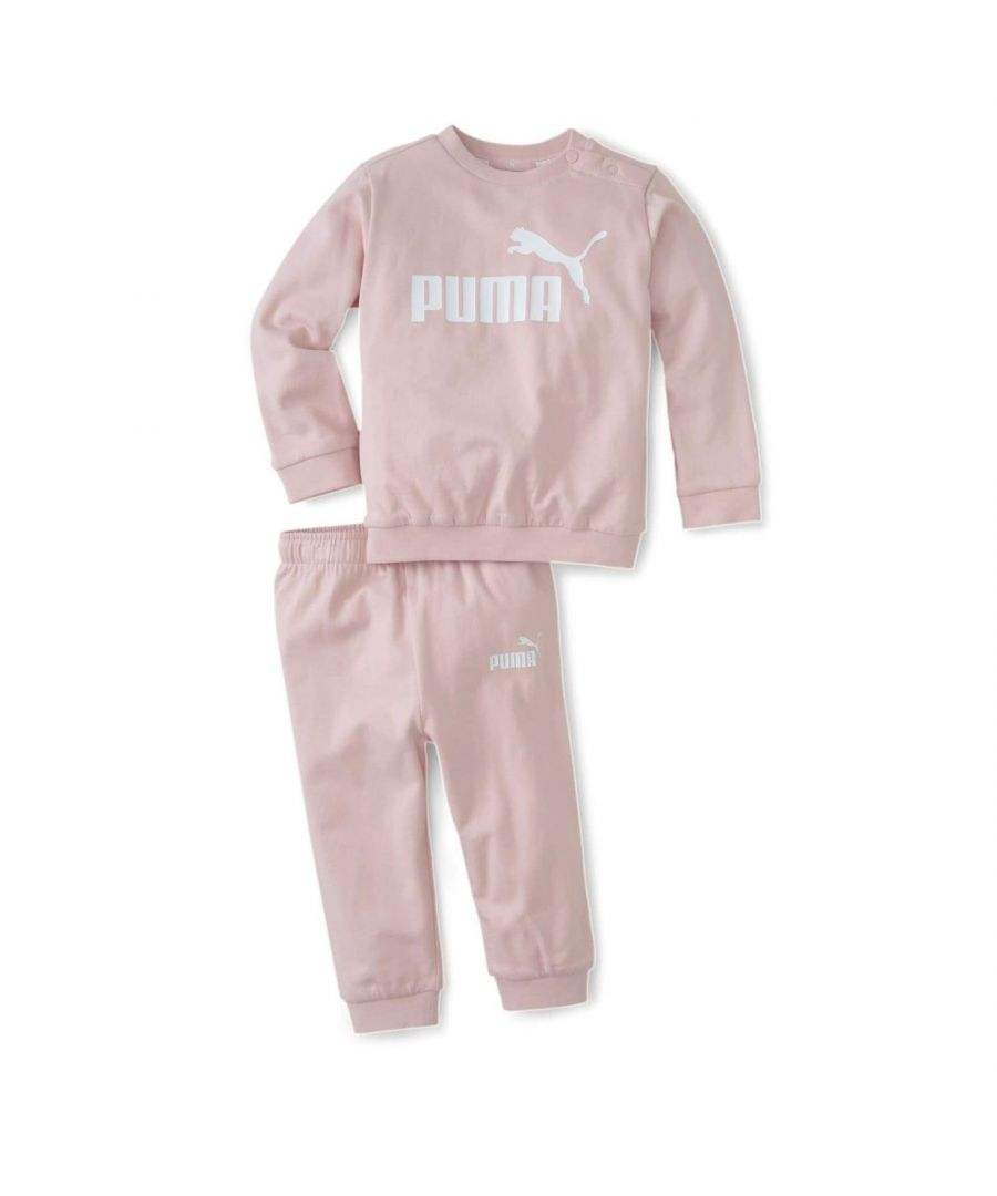 Image for Puma Minicats Crew Jogger Infant Girls Tracksuit Pink - 9-12 Months