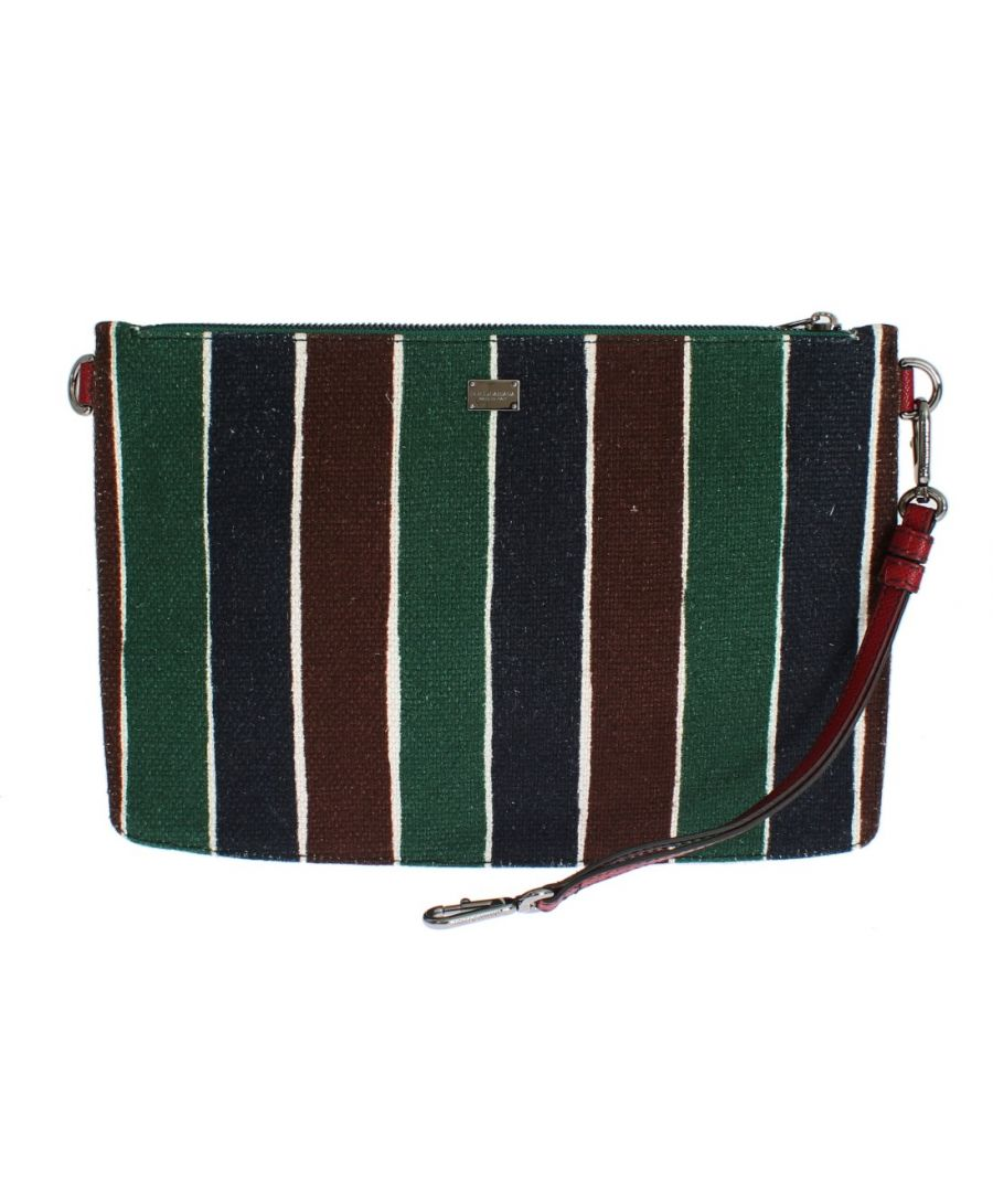 Image for Dolce & Gabbana Multicolor Striped Linen Leather Organizer Hand Bag