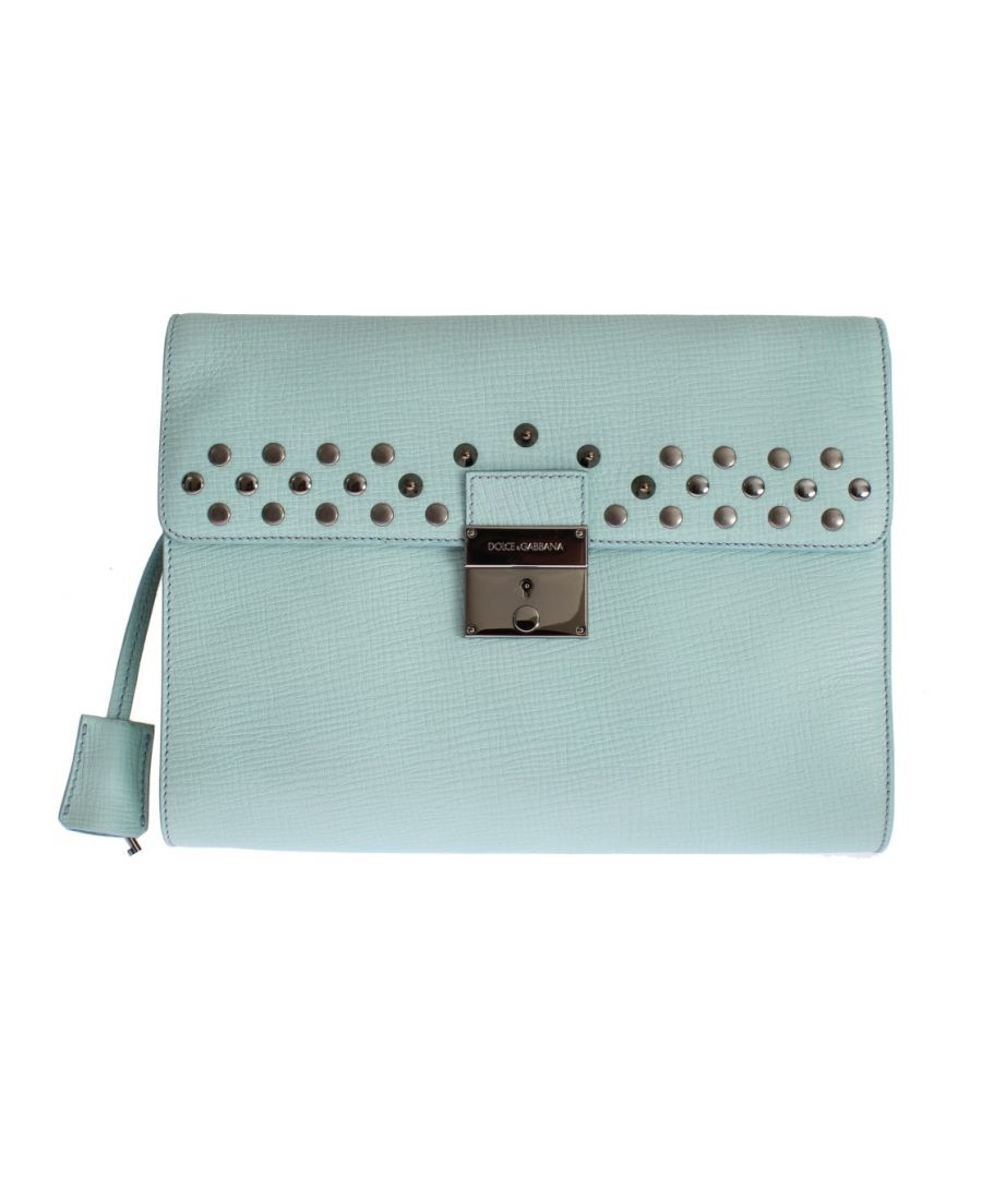 Image for Dolce & Gabbana Blue Leather Studded Document Portfolio Briefcase Bag