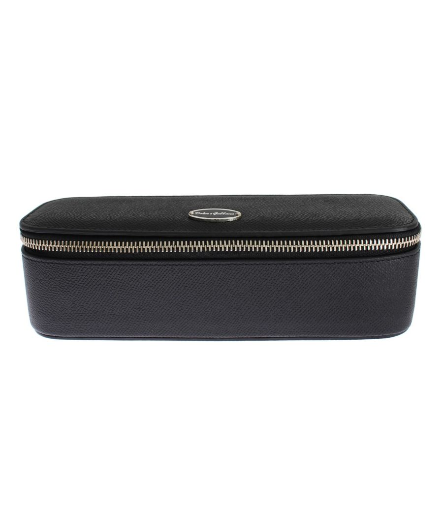 Image for Dolce & Gabbana Black Leather Jewelry Sunglasses Case Box Bag Organizer