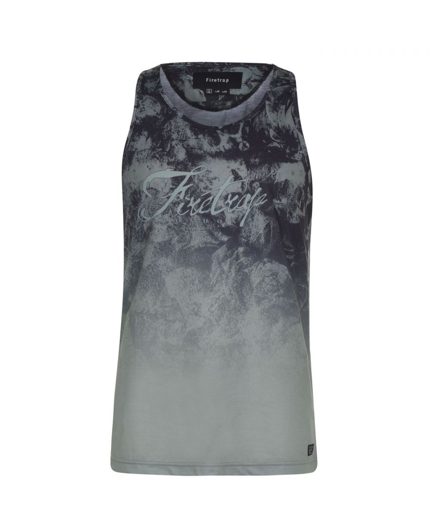 Image for Firetrap Mens Sub Vest Gym Training Top Muscle Scoop Neck Printed Sleeveless