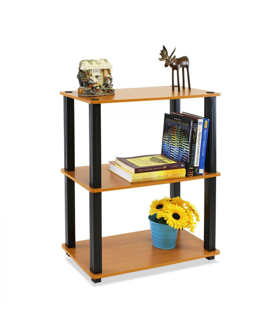 Image for Furinno Turn-N-Tube 3-Tier Compact Multipurpose Shelf Display Rack - Light Cherry