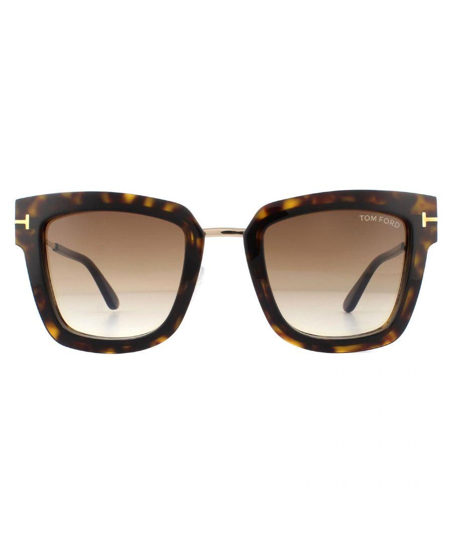 Image for Tom Ford Sunglasses Lara FT0573 52F Dark Havana Rose Gold Brown Gradient