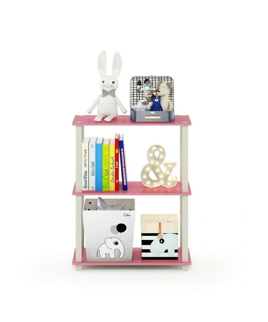 Image for Furinno Turn-S-Tube 3-Tier Compact Multipurpose Shelf Display Rack with Square Tube, Pink/White