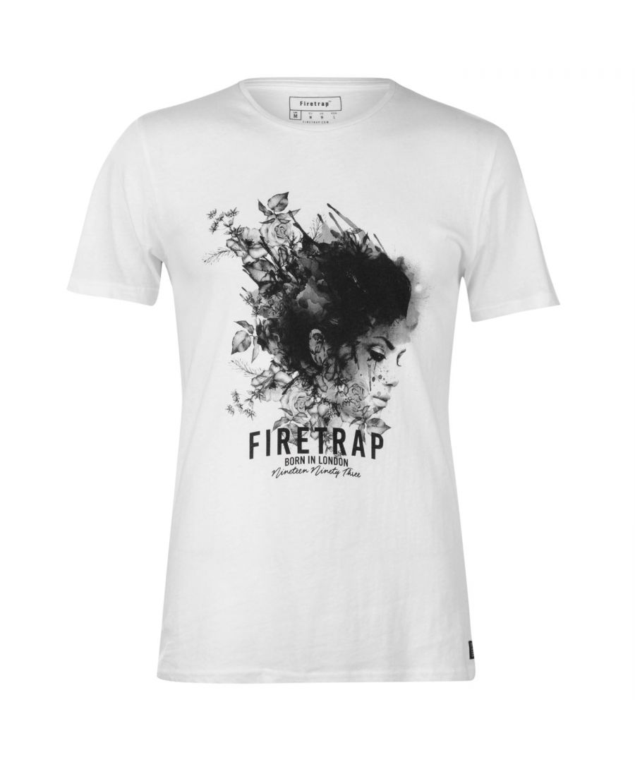 Image for Firetrap Mens Graphic T-Shirt Crew Neck Short Sleeve Print Ribbed Soft Tee Top