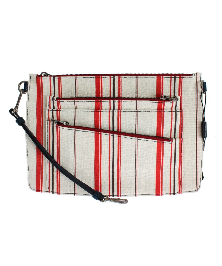 Image for Dolce & Gabbana White Red Striped Linen Shoulder Messenger Bag