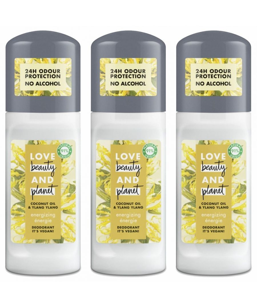 Image for Love Beauty and Planet Vegan Deodorant Energising Coconut Oil & Ylang Ylang Roll-On 50ML