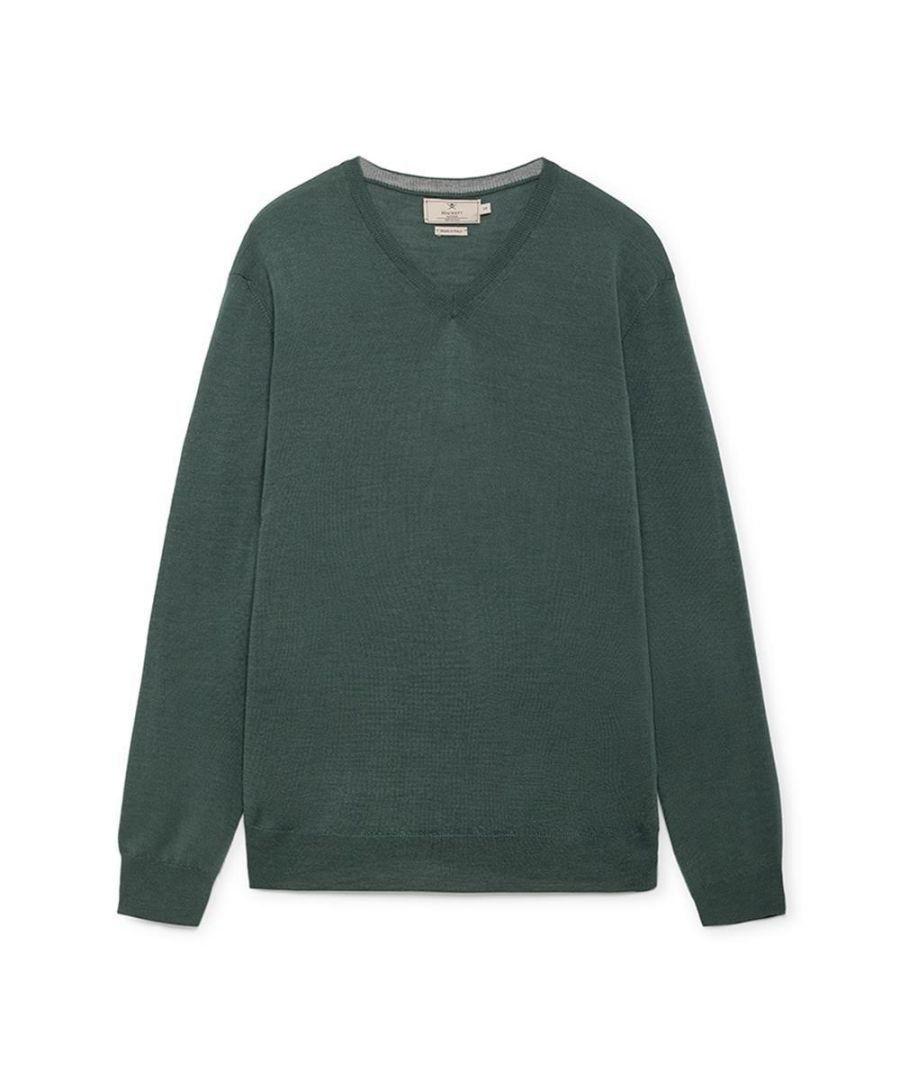 Image for Men's Hackett, Mayfair V Neck w/ Tipping Sweater in Green