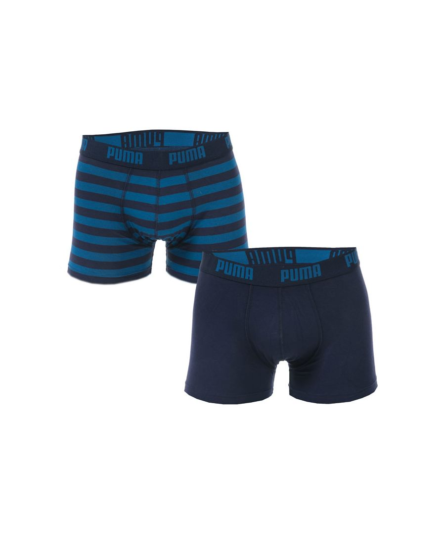 Image for Men's Puma Striped 2 Pack Boxer Shorts in Blue