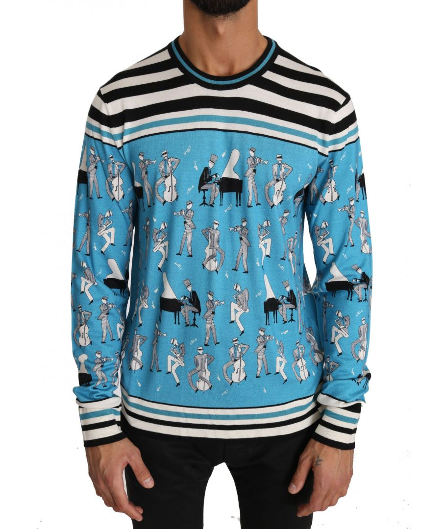 Image for Dolce & Gabbana Blue Cashmere Silk Music Pullover Sweater