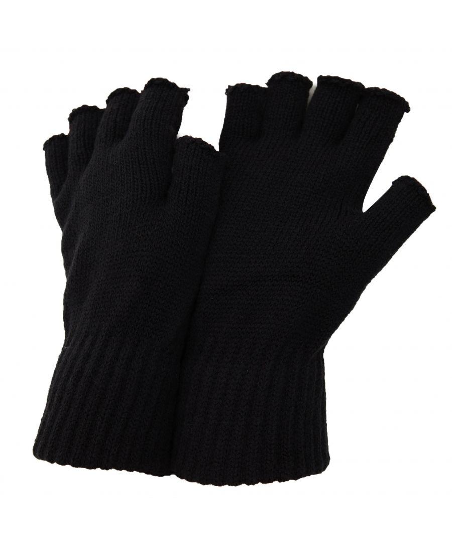 Image for FLOSO Mens Fingerless Winter Gloves (Black)