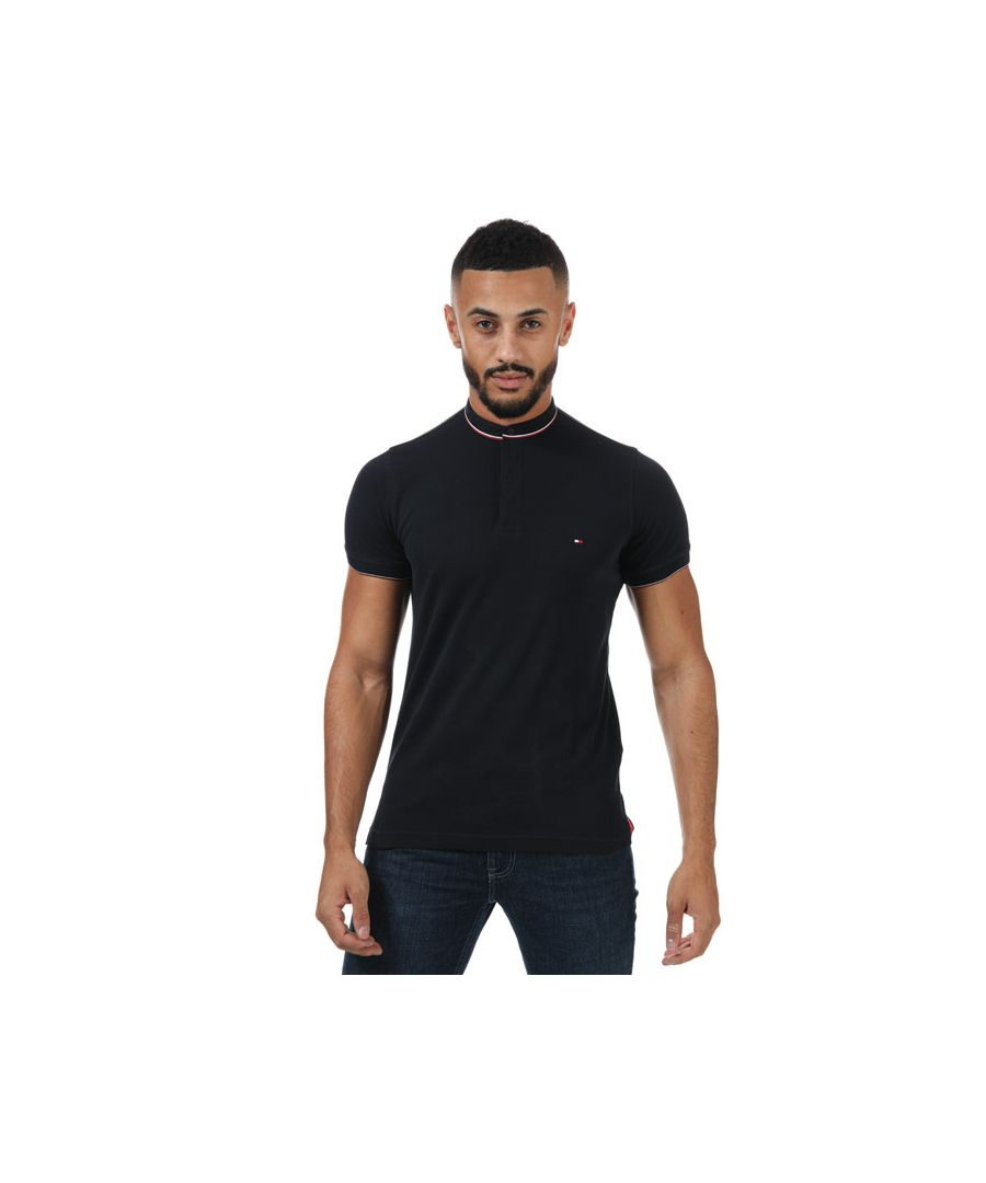 Image for Men's Tommy Hilfiger Band Collar Tipped T-Shirt in Navy