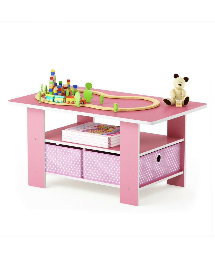 Image for Furinno Andrey Coffee Table with Bin Drawer, Pink