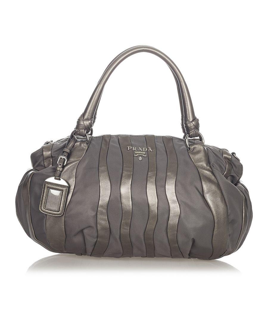 Image for Vintage Prada Tessuto Nappa Waves Handbag Gray